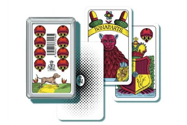 Mariáš jednohlavý  společenská hra  karty v plastové krabičce 6,5x10,5x2cm