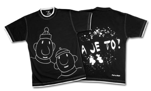 Tričko krátký rukáv černé - pánská kolekce Pat a Mat - velikost L