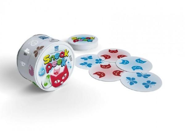 SNEAK PEEK společenská hra v plechové krabičce 9x9cm 8ks v boxu STRAGOO