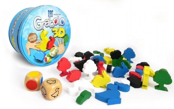 Grabolo 3D společenská hra dřevo v plechové krabičce 12x12x6cm STRAGOO