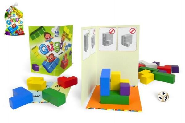 Qubolo společenská hra s dřevěnými kostkami v látkovém pytlíčku 27x15cm STRAGOO