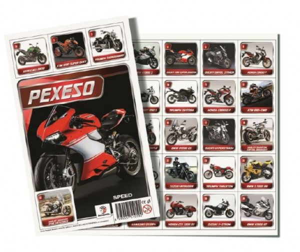 Pexeso Motorky společenská hra 32 obrázkových dvojic