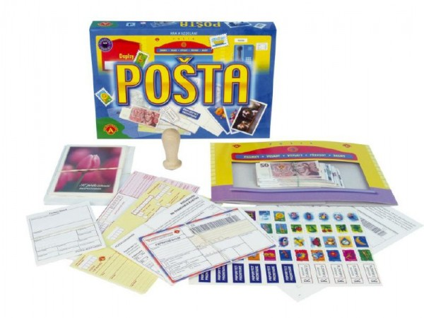 Pošta vzdělávací společenská hra v krabici  28,5x19x3,5cm