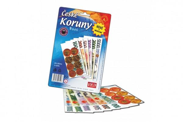 České koruny peníze + mince do hry na kartě 15x16cm