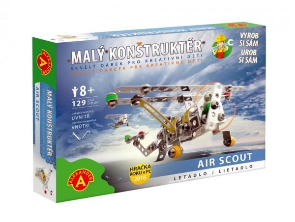 Malý konstruktér letadlo Air Scout kov 129ks stavebnice v krabici 23x17x3,5cm