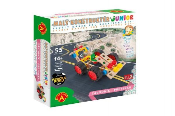 Malý konstruktér junior závodník 55 dílků dřevěná stavebnice v krabici 24,5x25x6cm
