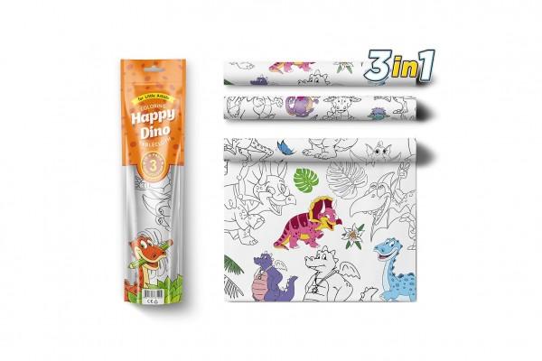 Malovací ubrusy 3 ks plast Šťastní Dinosauři v sáčku 10x42x4cm