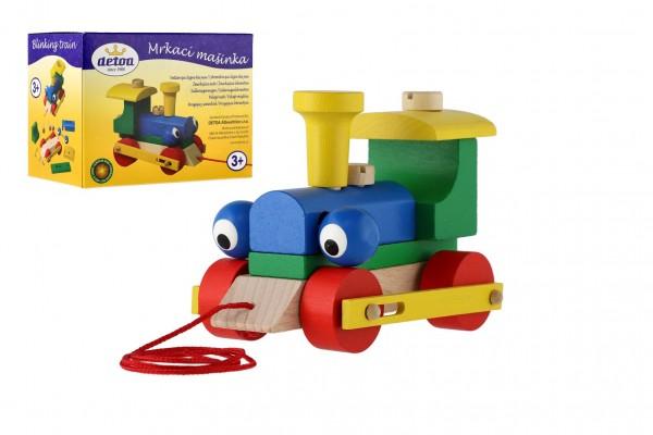 Mrkací mašinka/vlak dřevo tahací v krabičce 14,5x11x9cm