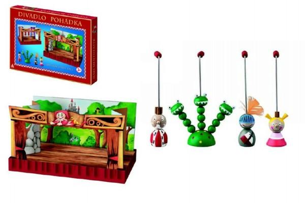 Divadlo Pohádka dřevěné s figurkami v krabici 33,5x23x3,5cm