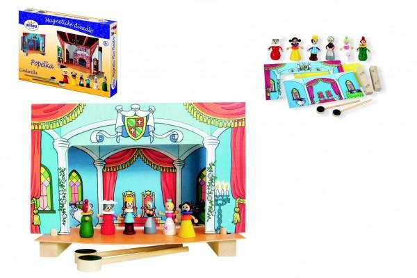 Divadlo Popelka magnetické dřevěné s figurkami v krabici 33,5x23x3,5cm