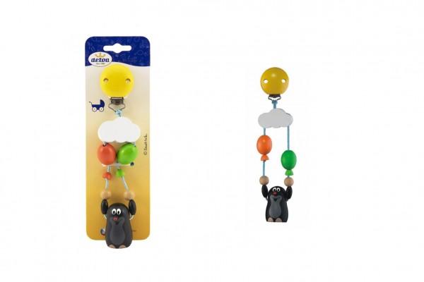 Závěs na kočárek dřevo Krtek s balónky 19cm na kartě