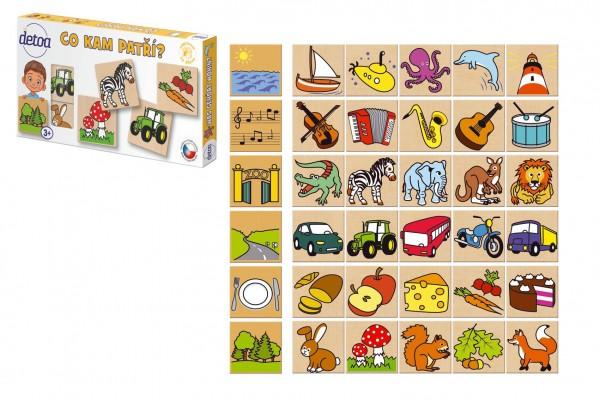 Co kam patří? 36 dřevěných kamenů v krabičce 25x13cm