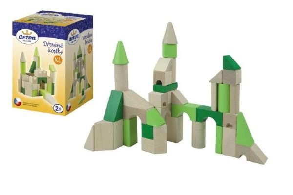 Kostky dřevěné XL 45 dílků v krabici 12x18x12cm