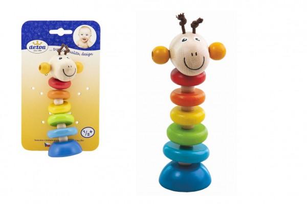 Žirafa na gumě dřevěná 15cm na kartě 6m+