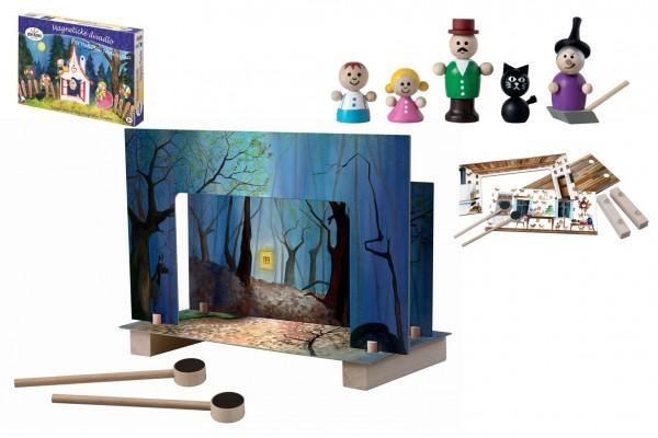 Magnetické divadlo Perníková chaloupka dřevo v krabici 33x23x3,5cm