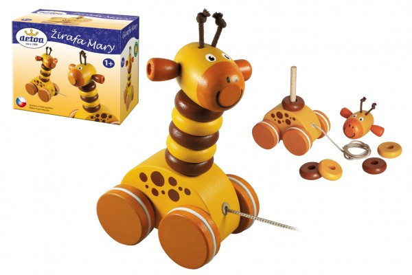Žirafa Mary tahací dřevo v krabičce 13x11x7,5cm 12m+