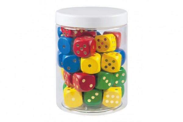 Hrací kostky barevné dřevo společenská hra 25mm 34 ks v plastové dóze 10x14cm 12m+