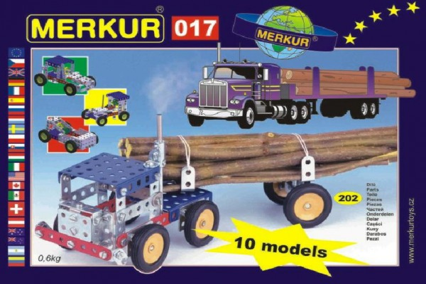 Stavebnice MERKUR 017 Kamion 10 modelů 202ks v krabici 26x18x5cm