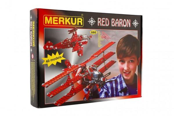 Stavebnice MERKUR Red Baron 40 modelů 680ks v krabici 36x27cm