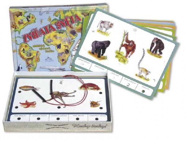 Zvířata světa společenská hra na baterie v krabici 22x16x3cm