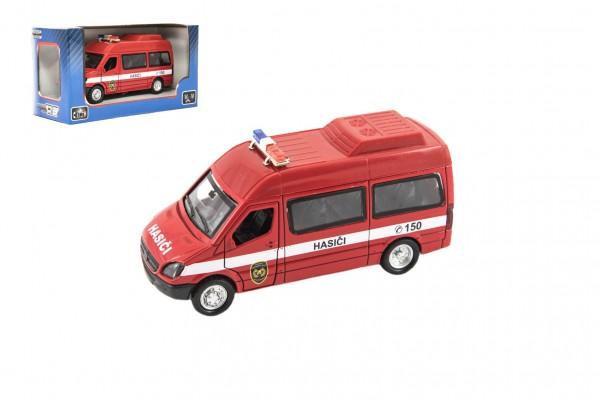 Auto hasiči kov/plast 15cm na zpětné natažení na baterie se zvukem se světlem v krabičce 16x8,5x7cm