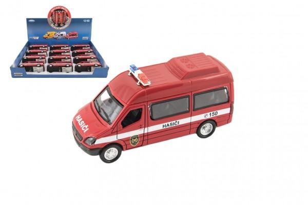 Auto hasiči kov/plast 13cm na zpětné natažení na baterie  se zvukem se světlem 12ks v boxu