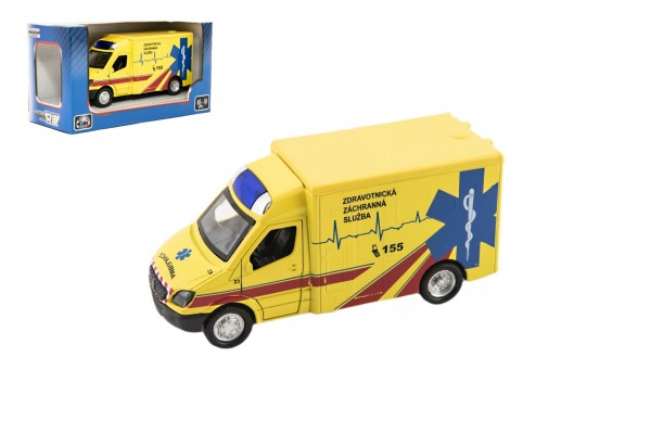 Auto ambulance kov/plast 13cm na zpětné natažení na bat. se zvukem se světlem v krabičce 16x8,5x7cm