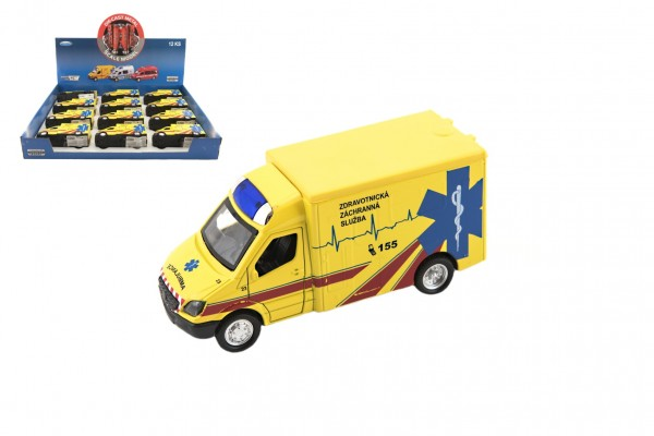 Auto ambulance kov/plast 13cm na zpětné natažení na baterie se zvukem se světlem 12ks v boxu