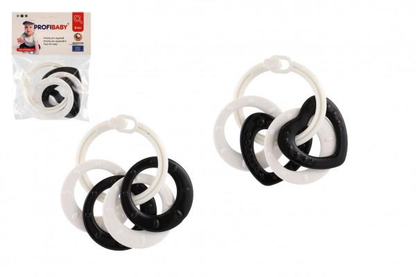 Kroužky se 4 tvary plast černobílé 2 druhy v sáčku 0m+