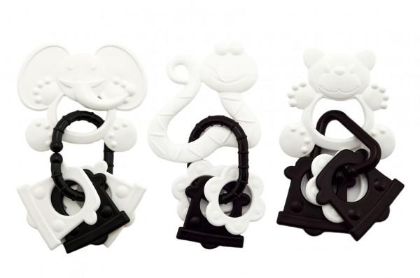 Gumové kousátko + přívěsky černobílé 12cm v krabičce12,5x16cm 0m+