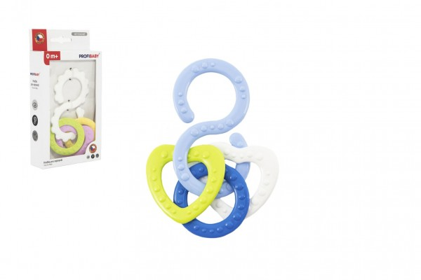 Kousátko osmička s přívěsky plast mix barev v krabičce 10x18,5x3cm 0m+