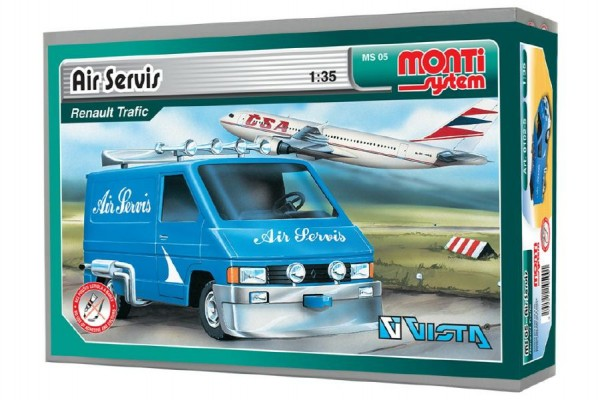 Stavebnice Monti 05 Air Servis-Renault Trafic 1:35 v krabici 22x15x6cm