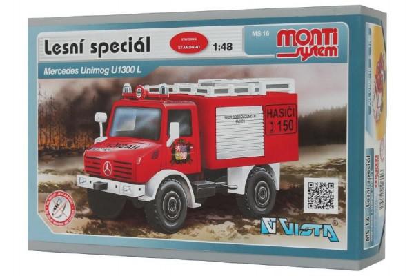 Stavebnice Monti 16 Fire Brigade Mercedes Unimog 1:48 v krabici 22x15x6cm