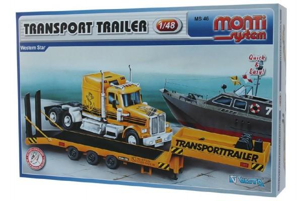 Stavebnice Monti 46 Transport Trailer Western Star 1:48 v krabici 32x20,5x7,5cm