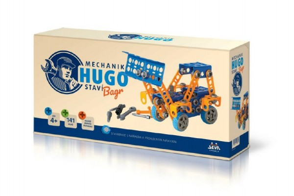 Mechanik Hugo staví Bagr Seva stavebnice s nářadím 141ks plast v krabici 31x16x7cm