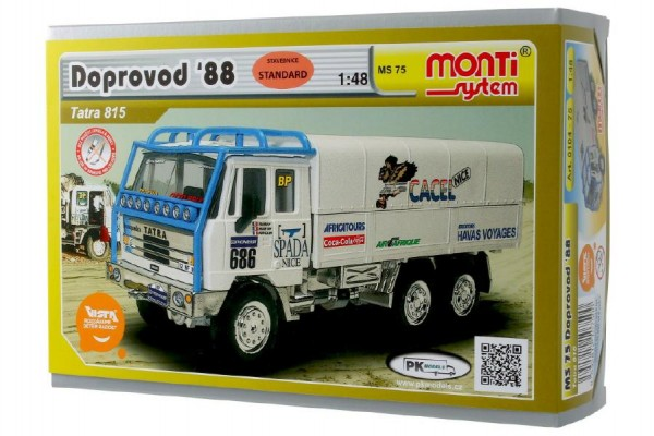 Stavebnice Monti 75 Tatra 815 doprovod Rallye 1988 1:48 v krabici 22x15x6cm