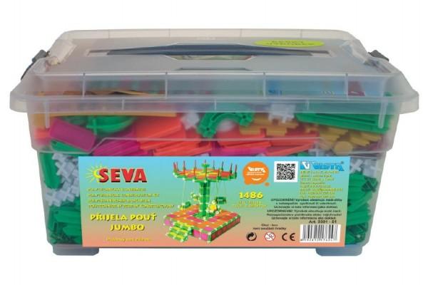 Stavebnice Seva Přijela pouť Jumbo 1486ks v plastovém boxu 39x17x30cm