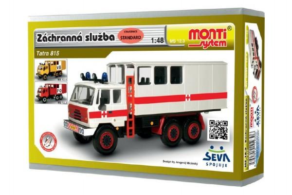 Stavebnice Monti 12.3 Tatra 815 Ambulance Záchranná služba 1:48 v krabici 22x15x6cm