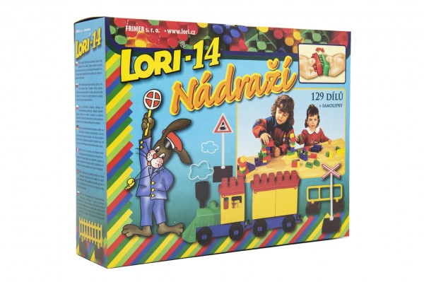 Stavebnice LORI 14 Nádraží plast 129ksv krabici 23x25x23cm