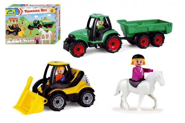Truckies set farma plast traktor s přívěsem, nakladač s doplňky v krabici 38x28x10cm 24m+
