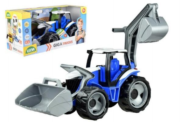 Traktor se lžící a bagrem plast modro-šedý 65cm v krabici od 3 let