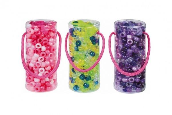 Korálky plast se šňůrkou asst 4 barvy v plastové doze 4,5x11cm 12ks v boxu