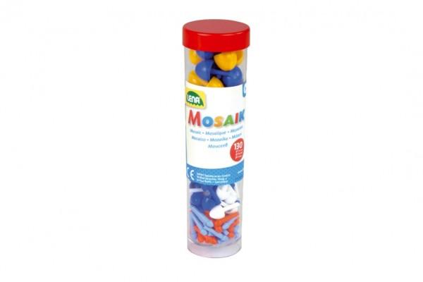 Kolíčky+kloboučky plast k mozaikám modré+mix 130ks v dóze 4,5x16cm