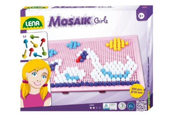 Mozaika pro holky klobouček 1cm 200ks v krabici 33x24x3,5cm