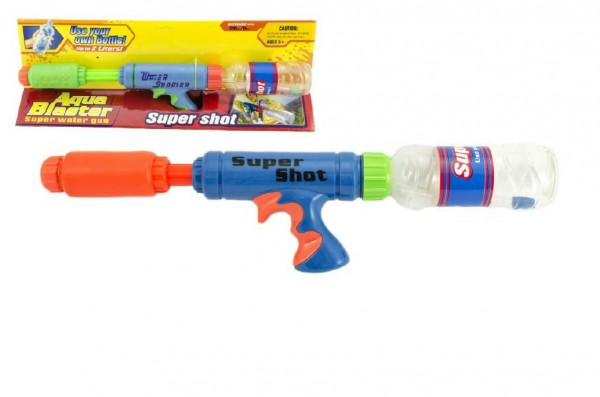 Vodní pistole s lahví plast 48cm asst 2 barvy v krabici