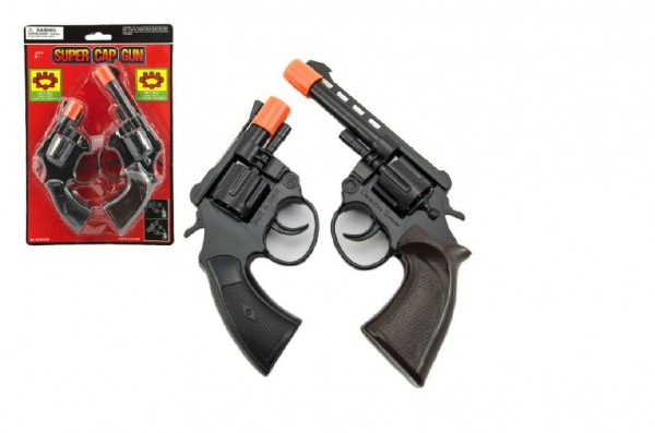 Pistole 2ks na kapsle 8 ran 20cm plast na kartě