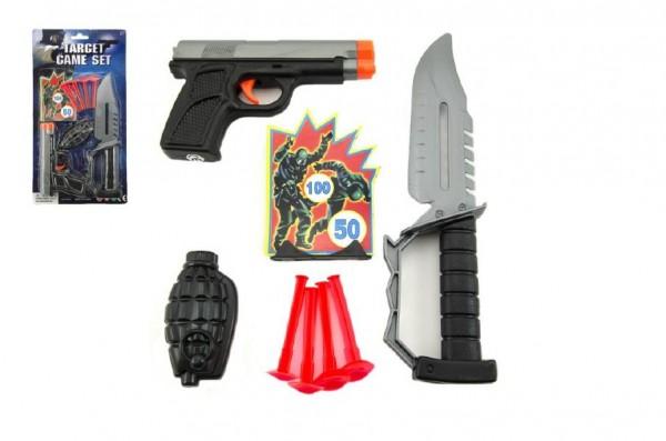 Pistole na přísavky + nůž plast na kartě