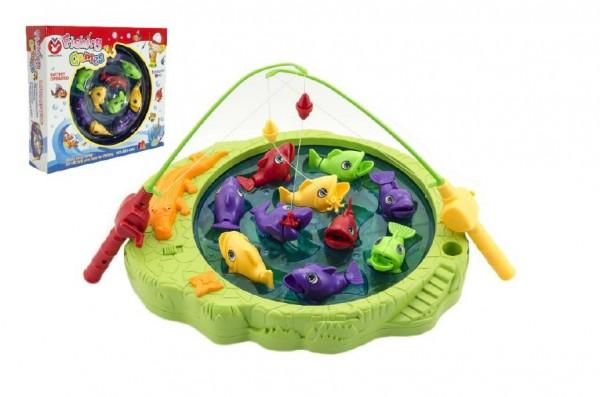 Hra ryby/rybář společenská hra 10 ryb a 2 pruty na baterie asst 2 barvy v krabici 33x29x8cm