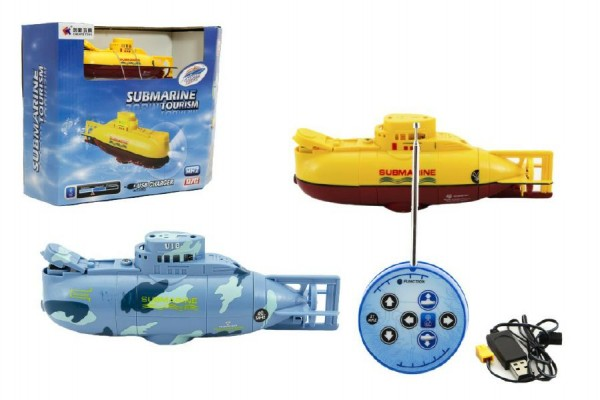 Ponorka RC plast 12cm USB asst 2 barvy v krabici 26x20x9cm