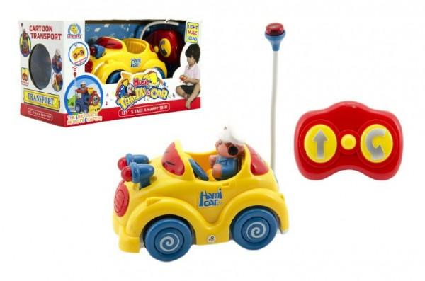 Auto Baby RC plast 14cm na baterie se zvukem se světlem v krabici 27x15x13cm